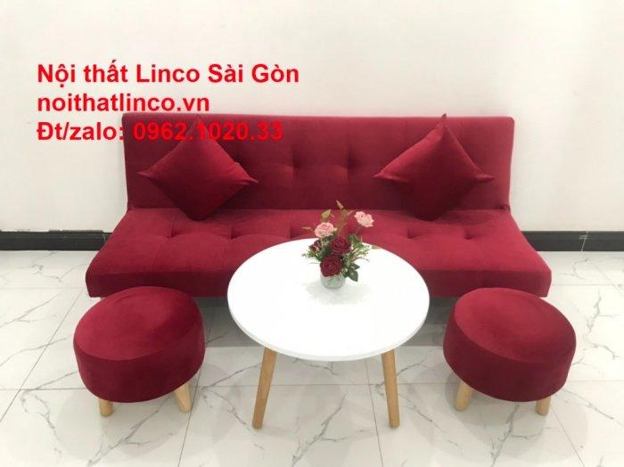 Bộ ghế sofa bed giường nằm màu đỏ mini nhỏ 1m7 giá rẻ đẹp Nội thất Linco Sài Gòn7