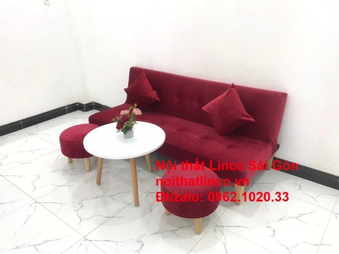 Bộ ghế sofa bed giường nằm màu đỏ mini nhỏ 1m7 giá rẻ đẹp Nội thất Linco Sài Gòn6