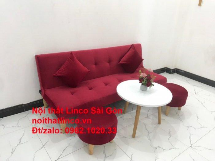 Bộ ghế sofa bed giường nằm màu đỏ mini nhỏ 1m7 giá rẻ đẹp Nội thất Linco Sài Gòn5