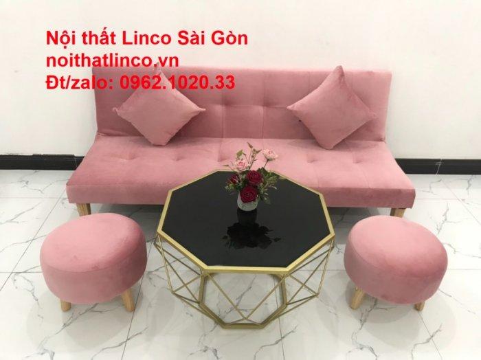 Bộ bàn ghế salon sopha màu hồng cách sen giá rẻ hiện đại Nội thất Linco Sài Gòn13