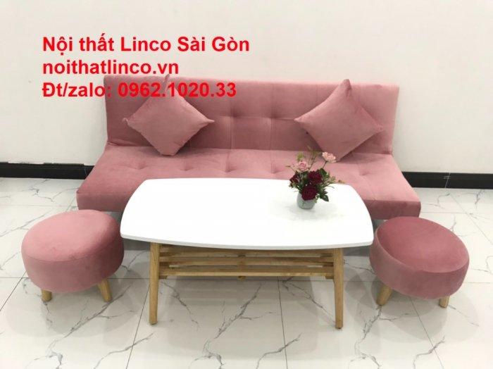 Bộ bàn ghế salon sopha màu hồng cách sen giá rẻ hiện đại Nội thất Linco Sài Gòn10