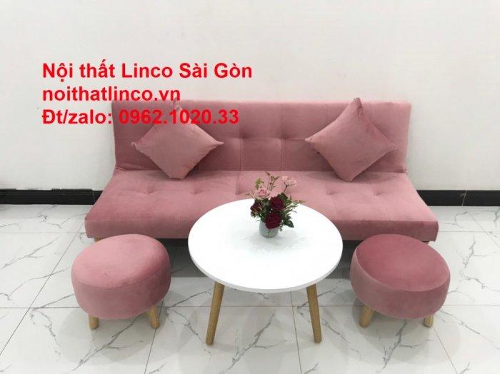 Bộ bàn ghế salon sopha màu hồng cách sen giá rẻ hiện đại Nội thất Linco Sài Gòn7
