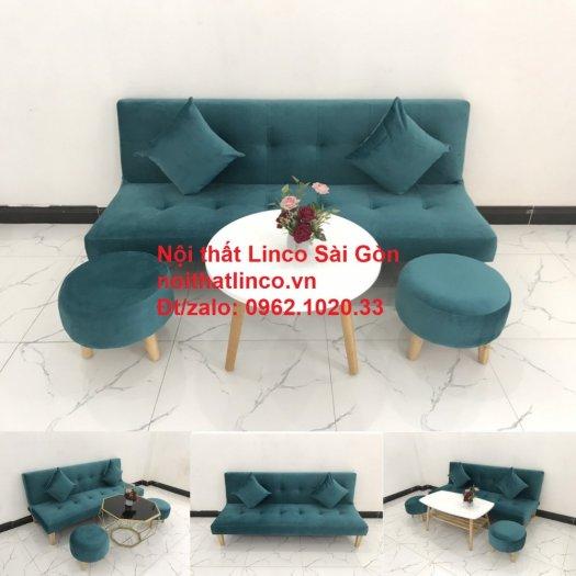 Ghế sofa giường nằm 1m7 mini giá rẻ xanh lá cây đậm đẹp | Nội Thất Linco Sài Gòn14