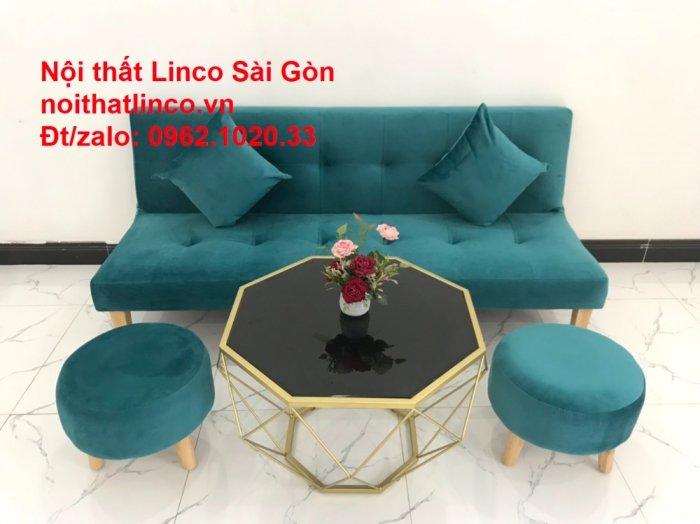 Ghế sofa giường nằm 1m7 mini giá rẻ xanh lá cây đậm đẹp | Nội Thất Linco Sài Gòn13