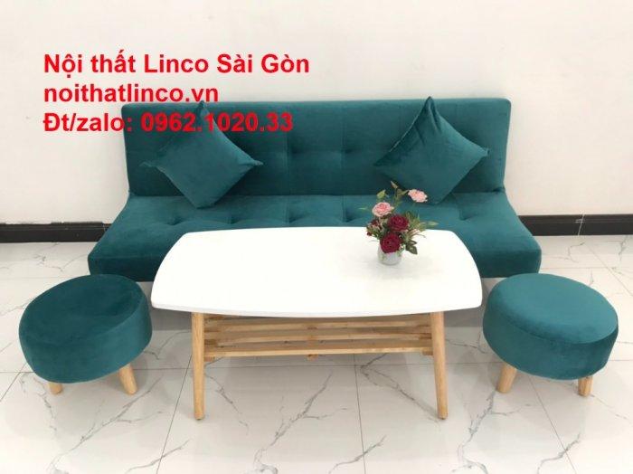 Ghế sofa giường nằm 1m7 mini giá rẻ xanh lá cây đậm đẹp | Nội Thất Linco Sài Gòn10