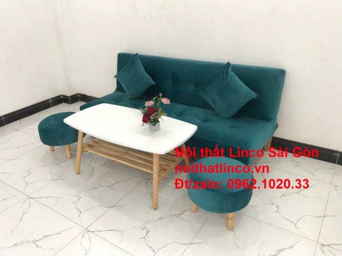 Ghế sofa giường nằm 1m7 mini giá rẻ xanh lá cây đậm đẹp | Nội Thất Linco Sài Gòn9