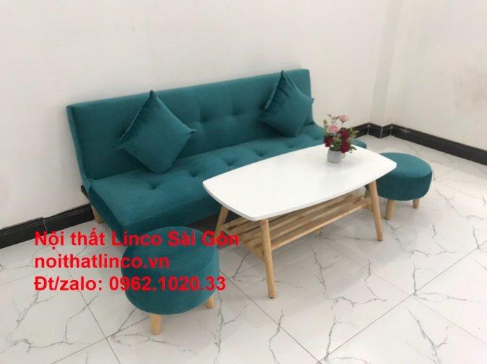 Ghế sofa giường nằm 1m7 mini giá rẻ xanh lá cây đậm đẹp | Nội Thất Linco Sài Gòn8