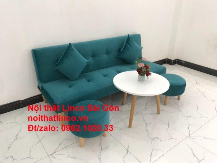 Ghế sofa giường nằm 1m7 mini giá rẻ xanh lá cây đậm đẹp | Nội Thất Linco Sài Gòn5