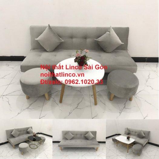 Bộ ghế sofa bed giường nằm nhỏ gọn 1m7 giá rẻ xám lông chuột vải nhung ở tại Nội thất Linco Sài Gòn14