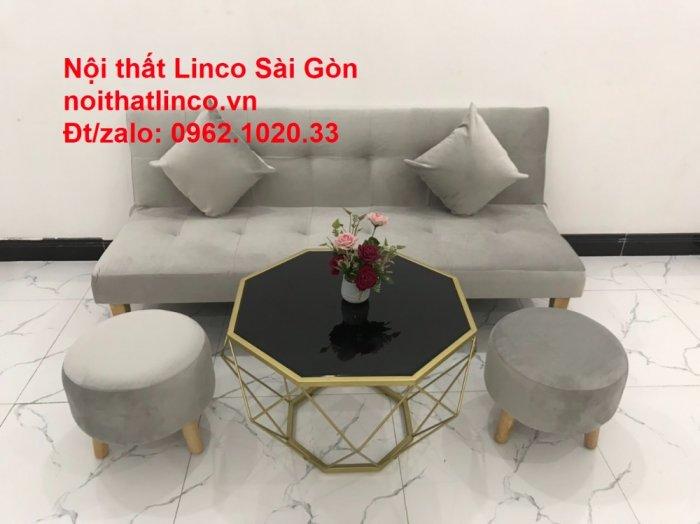 Bộ ghế sofa bed giường nằm nhỏ gọn 1m7 giá rẻ xám lông chuột vải nhung ở tại Nội thất Linco Sài Gòn13