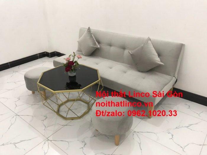 Bộ ghế sofa bed giường nằm nhỏ gọn 1m7 giá rẻ xám lông chuột vải nhung ở tại Nội thất Linco Sài Gòn12