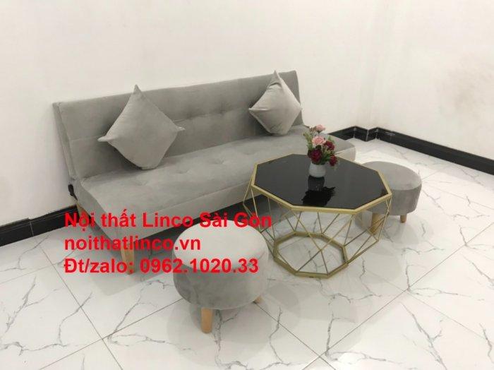 Bộ ghế sofa bed giường nằm nhỏ gọn 1m7 giá rẻ xám lông chuột vải nhung ở tại Nội thất Linco Sài Gòn11