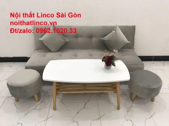 Bộ ghế sofa bed giường nằm nhỏ gọn 1m7 giá rẻ xám lông chuột vải nhung ở tại Nội thất Linco Sài Gòn10