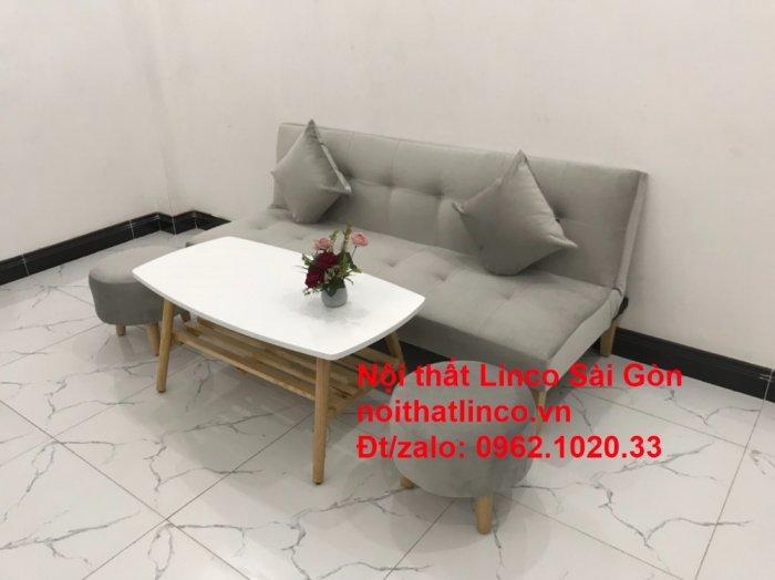 Bộ ghế sofa bed giường nằm nhỏ gọn 1m7 giá rẻ xám lông chuột vải nhung ở tại Nội thất Linco Sài Gòn9