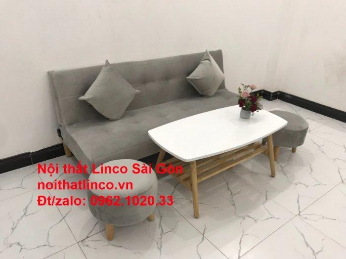Bộ ghế sofa bed giường nằm nhỏ gọn 1m7 giá rẻ xám lông chuột vải nhung ở tại Nội thất Linco Sài Gòn8