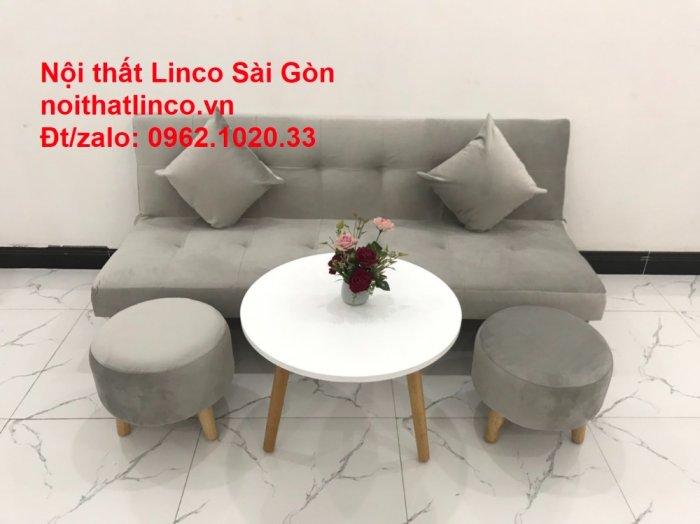 Bộ ghế sofa bed giường nằm nhỏ gọn 1m7 giá rẻ xám lông chuột vải nhung ở tại Nội thất Linco Sài Gòn7
