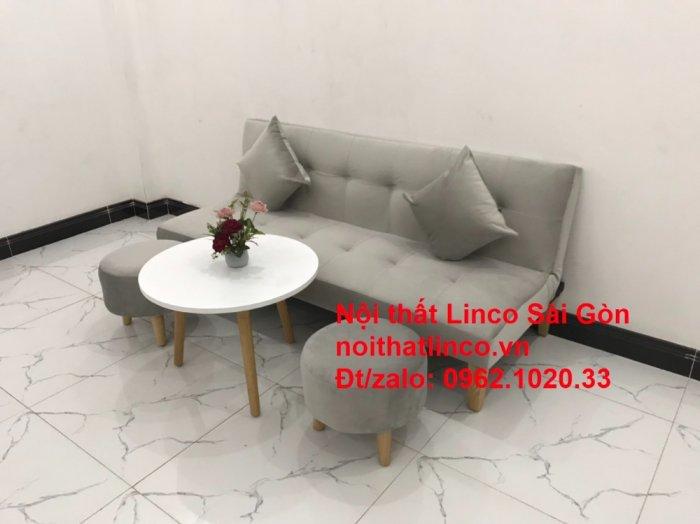 Bộ ghế sofa bed giường nằm nhỏ gọn 1m7 giá rẻ xám lông chuột vải nhung ở tại Nội thất Linco Sài Gòn6