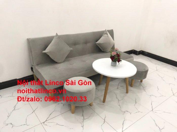 Bộ ghế sofa bed giường nằm nhỏ gọn 1m7 giá rẻ xám lông chuột vải nhung ở tại Nội thất Linco Sài Gòn5