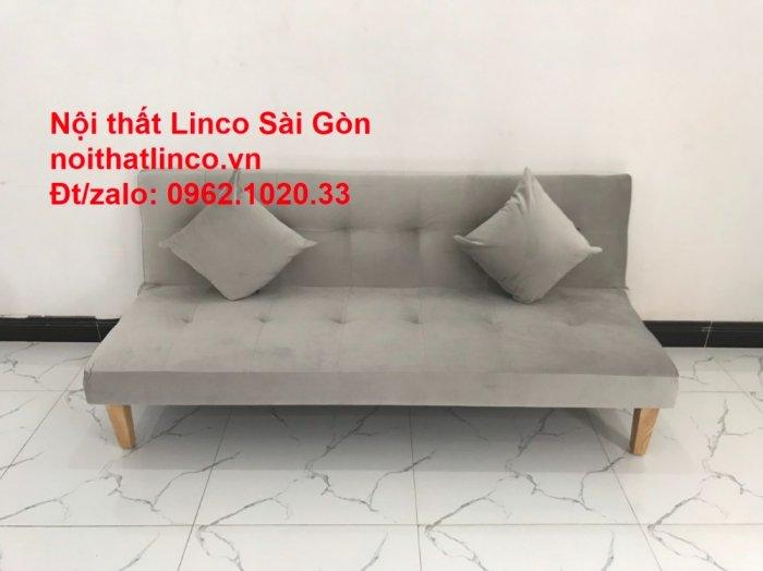 Bộ ghế sofa bed giường nằm nhỏ gọn 1m7 giá rẻ xám lông chuột vải nhung ở tại Nội thất Linco Sài Gòn4
