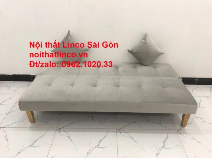 Bộ ghế sofa bed giường nằm nhỏ gọn 1m7 giá rẻ xám lông chuột vải nhung ở tại Nội thất Linco Sài Gòn1