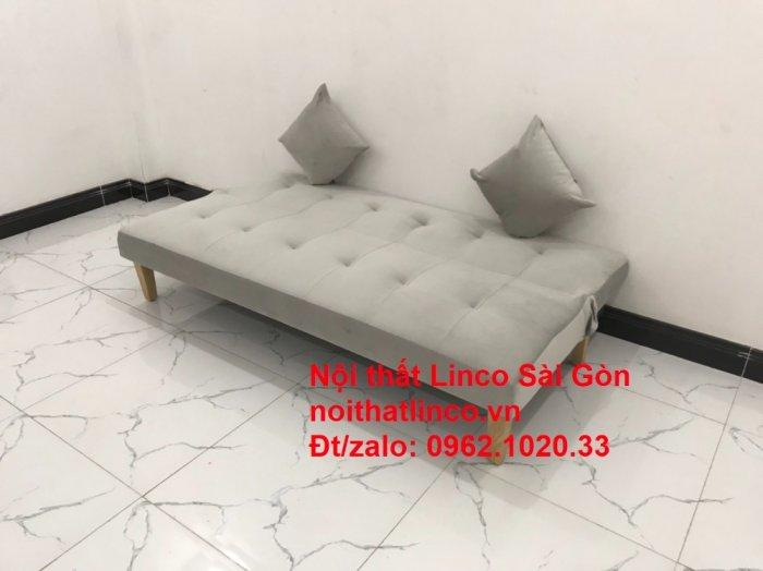 Bộ ghế sofa bed giường nằm nhỏ gọn 1m7 giá rẻ xám lông chuột vải nhung ở tại Nội thất Linco Sài Gòn0