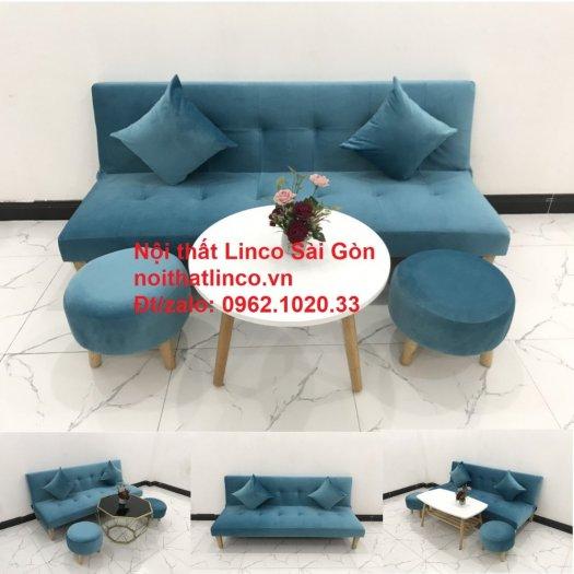 Bộ ghế sopha salon màu xanh nước biển đẹp   Sofa giá rẻ phòng khách   Nội thất Linco Sài Gòn14