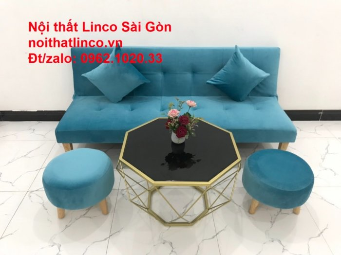 Bộ ghế sopha salon màu xanh nước biển đẹp   Sofa giá rẻ phòng khách   Nội thất Linco Sài Gòn13