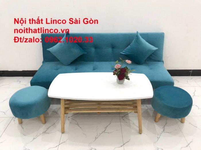 Bộ ghế sopha salon màu xanh nước biển đẹp   Sofa giá rẻ phòng khách   Nội thất Linco Sài Gòn10