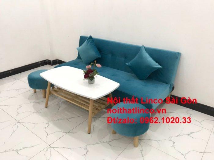 Bộ ghế sopha salon màu xanh nước biển đẹp   Sofa giá rẻ phòng khách   Nội thất Linco Sài Gòn9