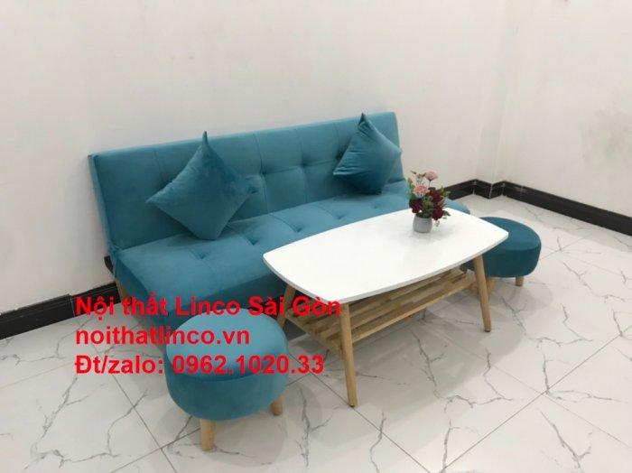 Bộ ghế sopha salon màu xanh nước biển đẹp   Sofa giá rẻ phòng khách   Nội thất Linco Sài Gòn8