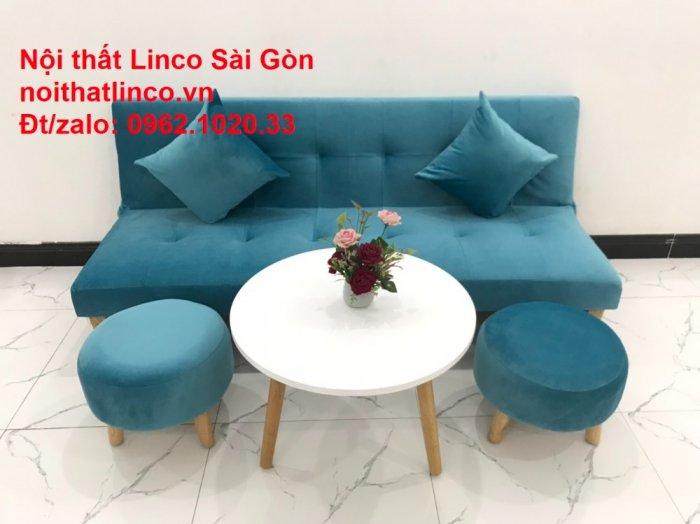 Bộ ghế sopha salon màu xanh nước biển đẹp   Sofa giá rẻ phòng khách   Nội thất Linco Sài Gòn7
