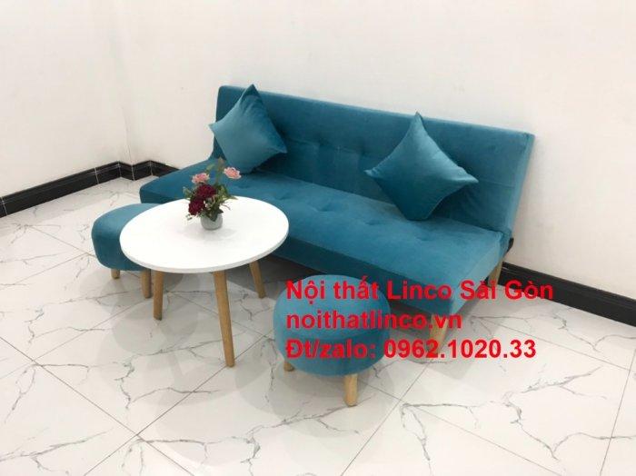 Bộ ghế sopha salon màu xanh nước biển đẹp   Sofa giá rẻ phòng khách   Nội thất Linco Sài Gòn6