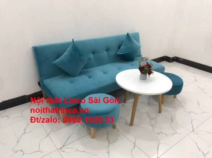 Bộ ghế sopha salon màu xanh nước biển đẹp   Sofa giá rẻ phòng khách   Nội thất Linco Sài Gòn5
