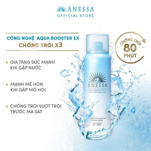 Xịt chống nắng Anessa bảo vệ hoàn hảo toàn thân dạng bọt Perfect UV Sunscreen Bubble Spray SPF 50+ PA++++3