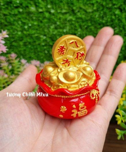 Túi vàng đỏ may mắn chữ Phúc, Chiêu Tài Tấn Lộc mẫu xu vàng và hồ lô vàng14