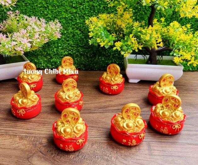 Túi vàng đỏ may mắn chữ Phúc, Chiêu Tài Tấn Lộc mẫu xu vàng và hồ lô vàng13
