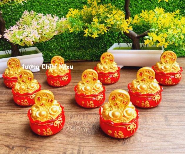 Túi vàng đỏ may mắn chữ Phúc, Chiêu Tài Tấn Lộc mẫu xu vàng và hồ lô vàng12