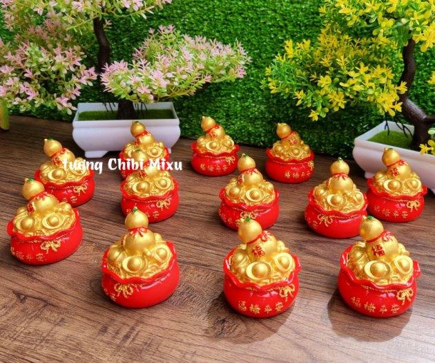 Túi vàng đỏ may mắn chữ Phúc, Chiêu Tài Tấn Lộc mẫu xu vàng và hồ lô vàng10