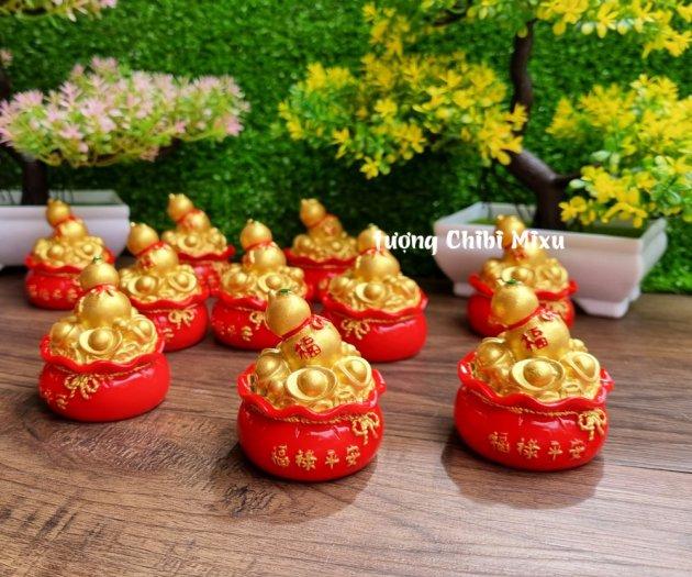 Túi vàng đỏ may mắn chữ Phúc, Chiêu Tài Tấn Lộc mẫu xu vàng và hồ lô vàng9