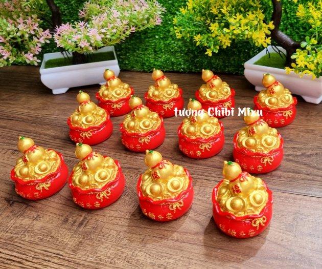 Túi vàng đỏ may mắn chữ Phúc, Chiêu Tài Tấn Lộc mẫu xu vàng và hồ lô vàng8