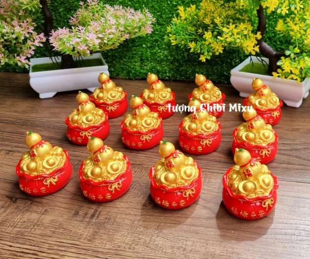 Túi vàng đỏ may mắn chữ Phúc, Chiêu Tài Tấn Lộc mẫu xu vàng và hồ lô vàng7