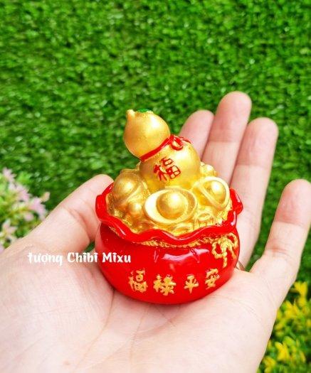 Túi vàng đỏ may mắn chữ Phúc, Chiêu Tài Tấn Lộc mẫu xu vàng và hồ lô vàng5