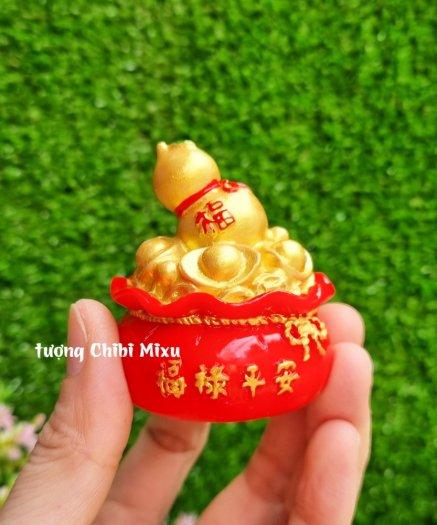 Túi vàng đỏ may mắn chữ Phúc, Chiêu Tài Tấn Lộc mẫu xu vàng và hồ lô vàng4