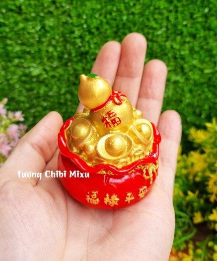 Túi vàng đỏ may mắn chữ Phúc, Chiêu Tài Tấn Lộc mẫu xu vàng và hồ lô vàng3