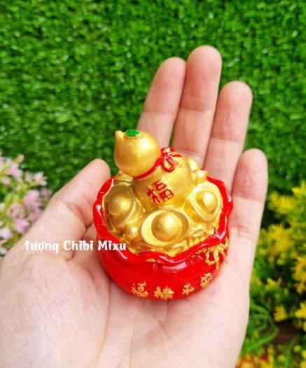 Túi vàng đỏ may mắn chữ Phúc, Chiêu Tài Tấn Lộc mẫu xu vàng và hồ lô vàng2