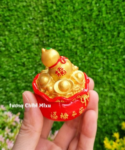 Túi vàng đỏ may mắn chữ Phúc, Chiêu Tài Tấn Lộc mẫu xu vàng và hồ lô vàng0