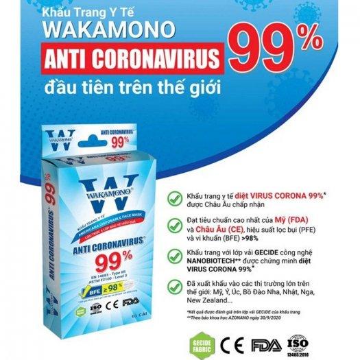 Bán Sỉ Thùng Khẩu Trang WAKAMONO ngăn & diệt virut COVID, Kháng Khuẩn Cực Tốt0
