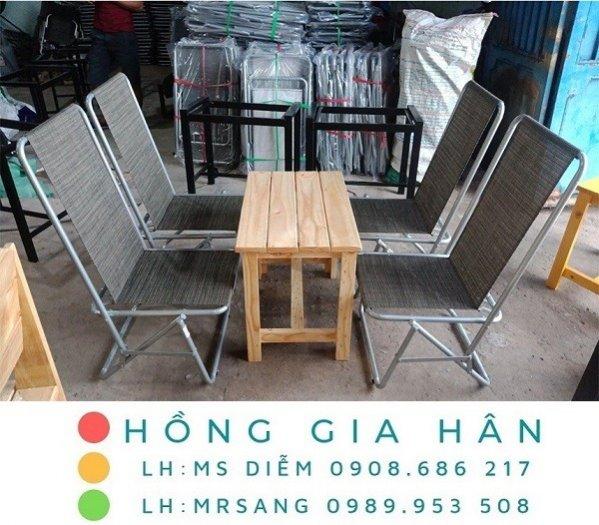 Bàn ghế cafe xếp gọn Hồng Gia Hân C1140