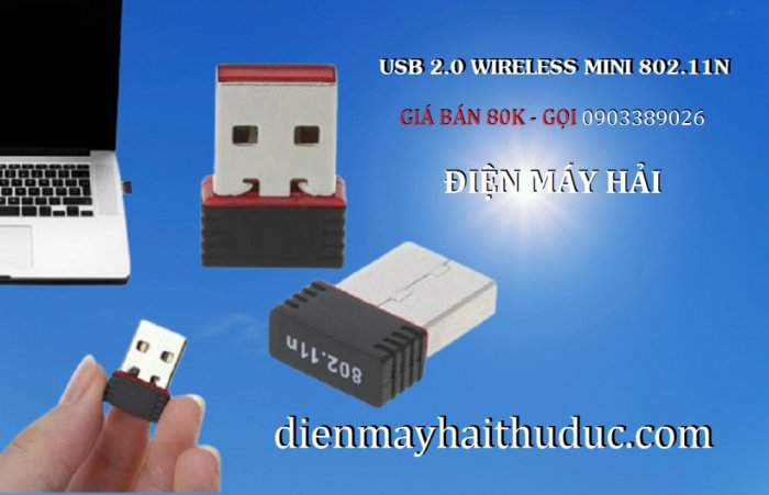 USB 2.0 Wireless Mini 802.11N giá 80K xài cho PC, Laptop đều OK3