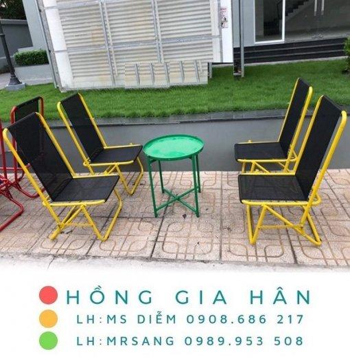 Bàn ghế cafe xếp gọn giá rẻ Hồng Gia Hân C1220